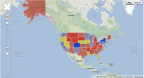 Click on the map and see the status of gun legislation in each state.